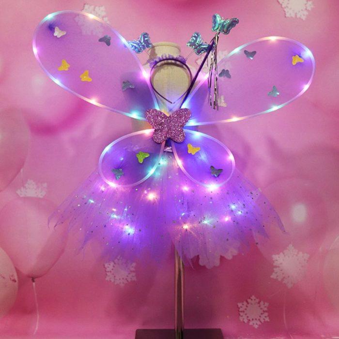 EDCRFV Frauen Mädchen Rolle-spielen Prop Nette Blinkende Flügel Tutu Rock LED Glow Stirnband Fee Stick Kinder Cosplay Kostüme 4
