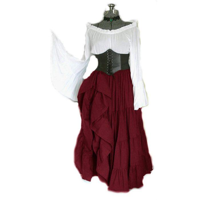 2020 neue Halloween Frauen Medieval Cosplay Kostüme Gothic Retro Victoria Mittelalter Karneval Langarm Plissee Korsett Kleid 2