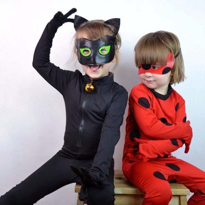 Kind Schwarz Katze Noir Cosplay Kostüm Magie Halloween Weihnachten Overall Jungen Adrian Marinette Super Hero Cosplay 3