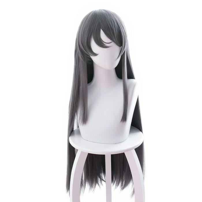 Sakurajima Mai Grau Lange Perücke Cosplay Kostüm Seishun Buta Yarou wa Bunny Mädchen Senpai keine Yume wo Minai Wärme Beständig haar 2