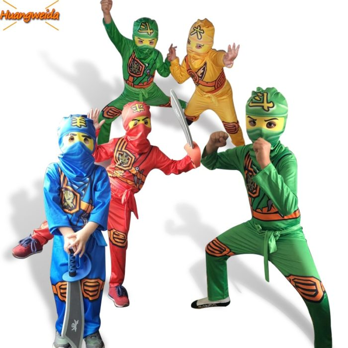 Ninjago Kostüm Jungen Kostüme Kinder Phantasie Party Kleid Up Karneval Halloween Kostüm für Kinder Ninja Cosplay Superhero Overall 1