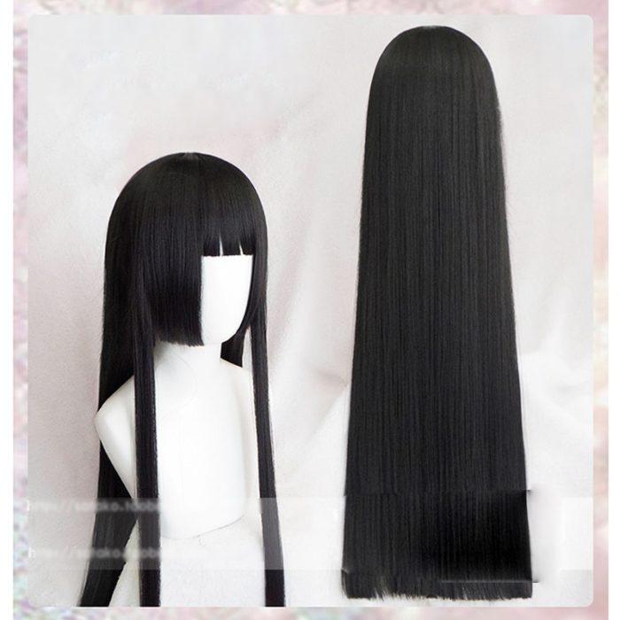 100cm Kakegurui Yumeko Jabami Cosplay Perücken Schwarz Gerade Hitze Beständig Synthetische Haar Perucas Cosplay Perücke 1