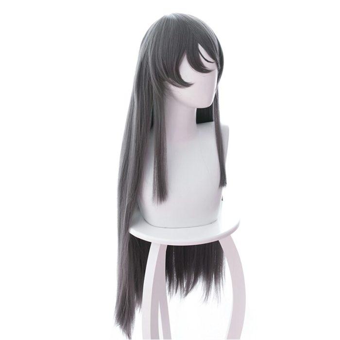 Sakurajima Mai Grau Lange Perücke Cosplay Kostüm Seishun Buta Yarou wa Bunny Mädchen Senpai keine Yume wo Minai Wärme Beständig haar 3