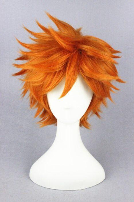 Hohe Qualität Anime Haikyuu!! Hinata Syouyou Cosplay Perücke Kurze Orange Curly Wärme Beständig Synthetische Haar Perücken + Perücke Kappe 3