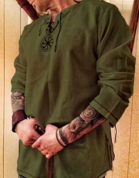 Halloween Medieval Renaissance Cosplay Kostüm Männer Vikings Piraten Tops Retro T-Shirts Tunika Alte Slawischen Ritter Krieger Outfit 7