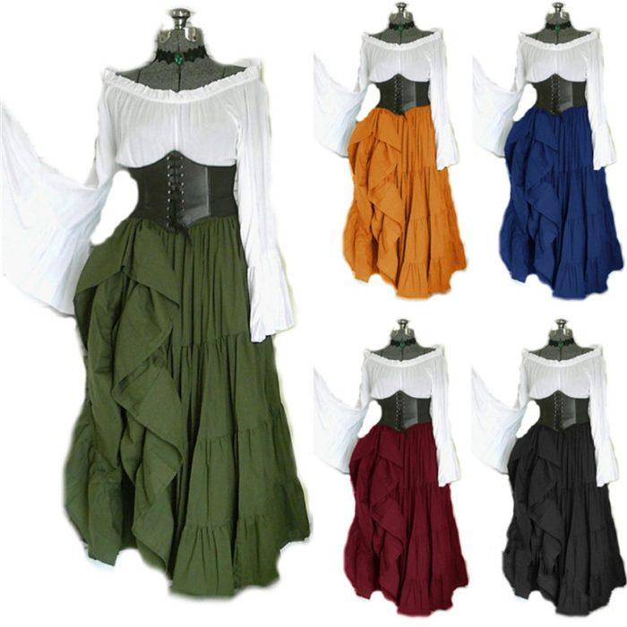 2020 neue Halloween Frauen Medieval Cosplay Kostüme Gothic Retro Victoria Mittelalter Karneval Langarm Plissee Korsett Kleid 1