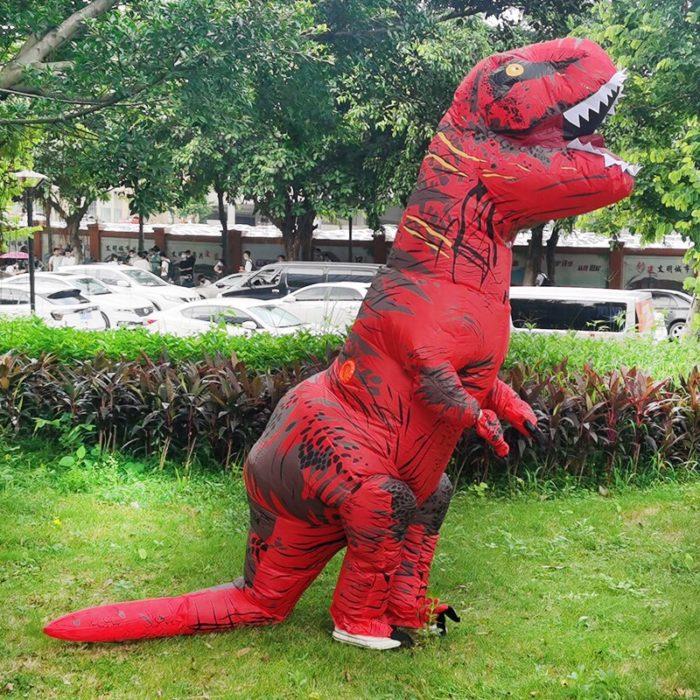 Erwachsene Kinder Aufblasbare Dinosaurier Kostüm T REX cosplay Kostüme Halloween kostüm für männer frauen Anime Phantasie Kleid anzug Karneval 4