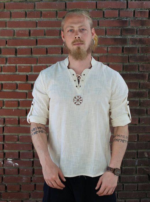 Mittelalterlichen Viking Pirate Leinen Top Hemd Kostüm Herren Nordic Krieger Retro T-shirt Bart Cosplay T Stickerei Für Erwachsene 4XL 5XL 2