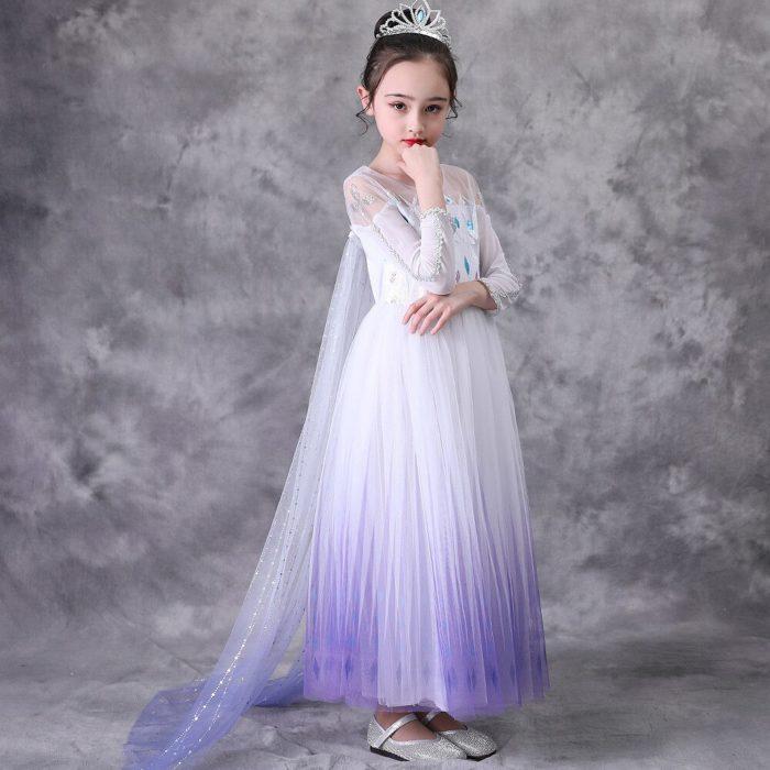 Top Schnee Königin Baby Mädchen Weiß Elsa Kleid Anna Elsa Cosplay Kostüm Sommer Prinzessin Kleid Halloween Geburtstag Party Hochzeit Kleid 2