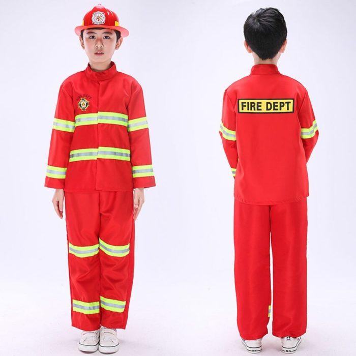 Kinder Feuerwehr Kostüme Baby Jungen Kleidung Set Halloween Party Cosplay Roleplay Feuerwehrmann Kostüme für Teenager Jungen mit Gürtel 4