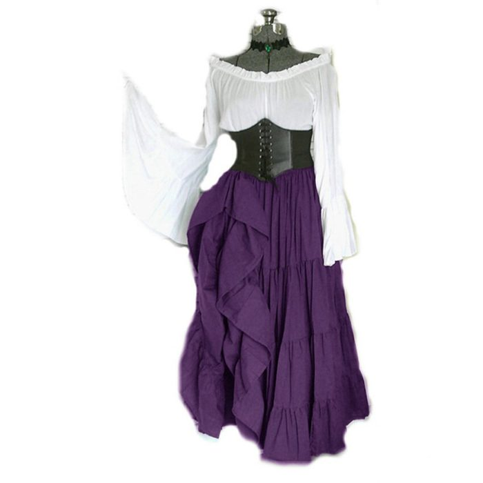 2020 neue Halloween Frauen Medieval Cosplay Kostüme Gothic Retro Victoria Mittelalter Karneval Langarm Plissee Korsett Kleid 3
