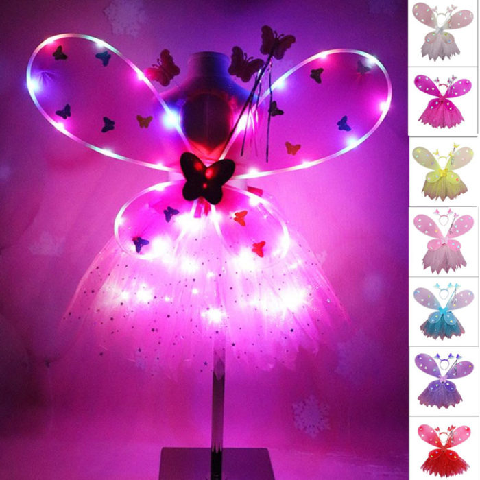 EDCRFV Frauen Mädchen Rolle-spielen Prop Nette Blinkende Flügel Tutu Rock LED Glow Stirnband Fee Stick Kinder Cosplay Kostüme 1