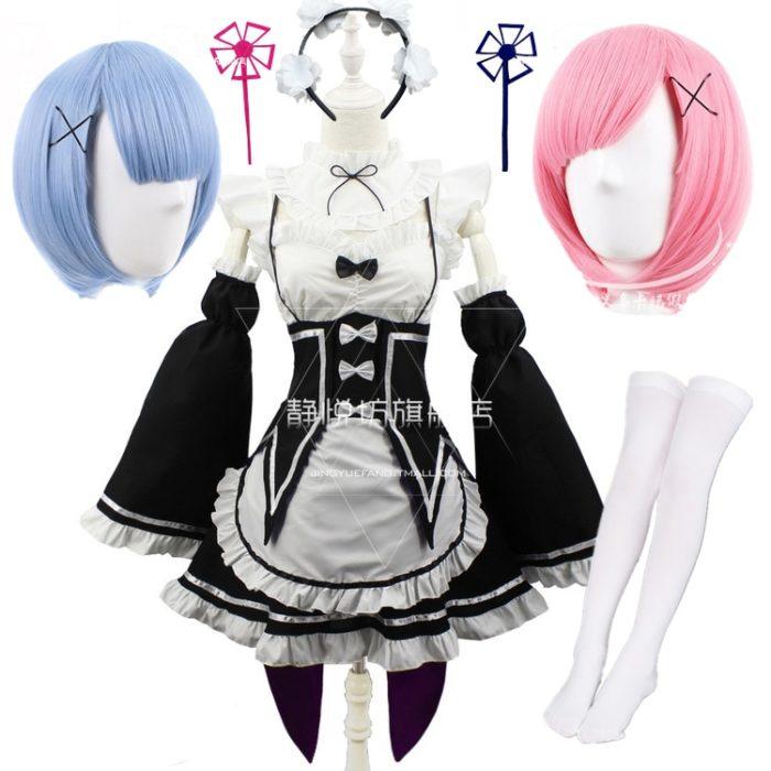 Ram Rem Cosplay Kostüm Anime Re: null Kara Hajimeru Isekai Seikatsu Schwarz Blau Rot Maid Outfit Diener Kostüme Schürze Kleid 1