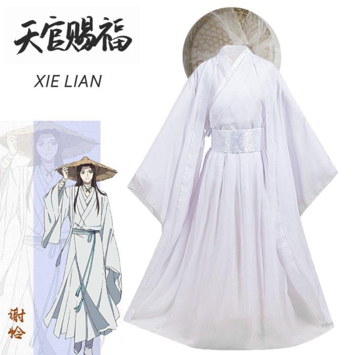 Eraspooky Unisex Xie Lian Cosplay Kostüm Tian Guan Ci Fu Cosplay Xielian perücken Bambus Hut Prop Weiß Han Fu Anime outfit 1