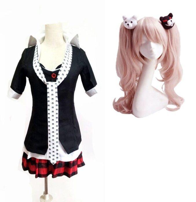Danganronpa Cosplay Anime Dangan Ronpa Junko Enoshima Cosplay Kostüm Schule Uniformen Spiel Outfits Anzüge Prop Monokuma Haarnadeln 6
