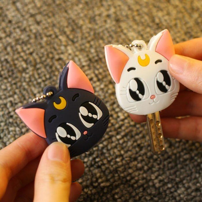 Sailor Moon Luna Card Captor Sakura Katze Keychain Abdeckung Cosplay Prop Anhänger Schlüsselring Anime 2