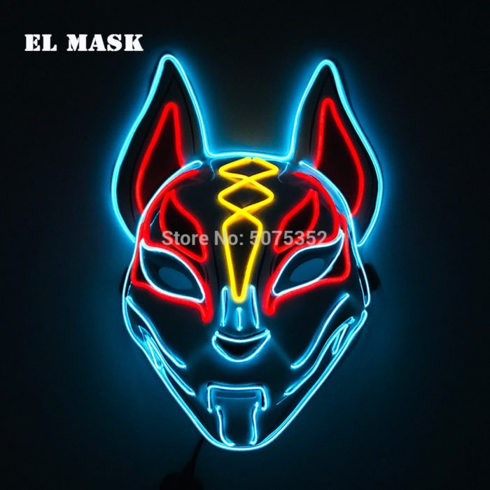 Anime Expro Decor Japanischen Fuchs Maske Neon Led Licht Cosplay Maske Halloween Party Rave Led Maske Dance DJ Payday Kostüm requisiten 5
