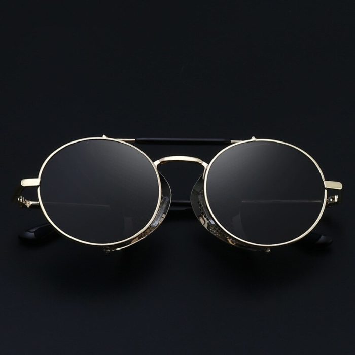 Gute Omens Dämon Crowley Cosplay Brillen Gläser Steampunk Brille Sonnenbrille Retro Farbe film Reflektierende Hohe Qualität Spiegel 5