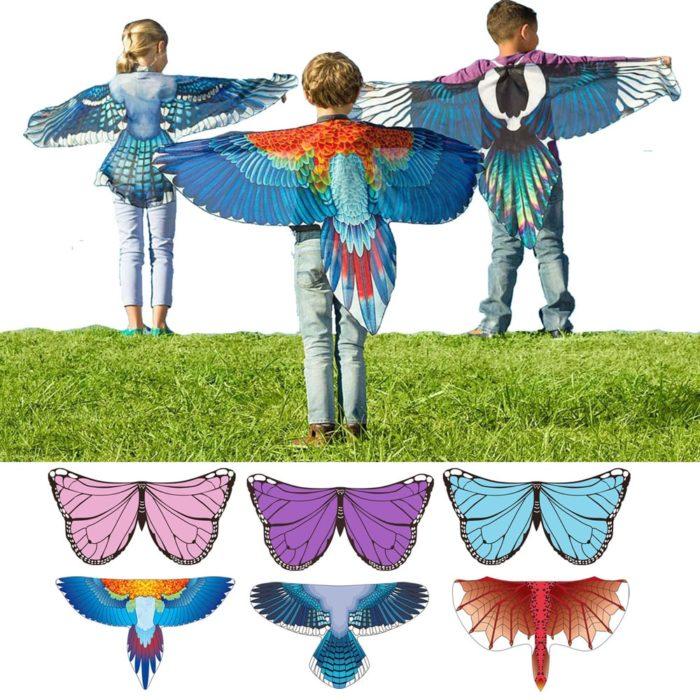 Drachen Kostüme Schmetterling Flügel Vogel Cosplay Ara Elster Inspiriert Flügel Kinder Kostüm Blau Rot 1