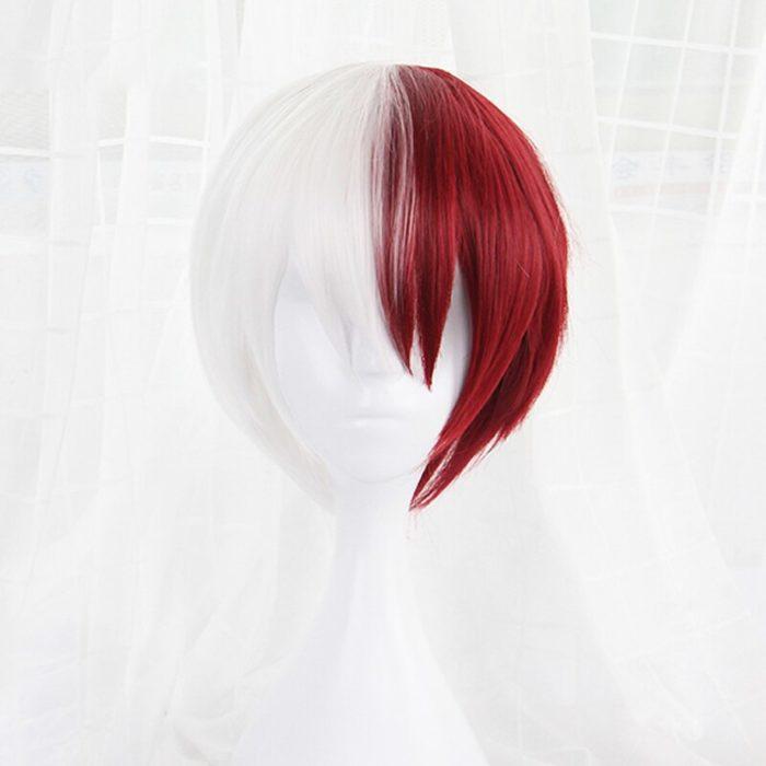Mein Hero Wissenschaft Boku keine Hiro Akademia Shoto Todoroki Shouto Weiß Und Rot Cosplay Perücke + Perücke Kappe 2