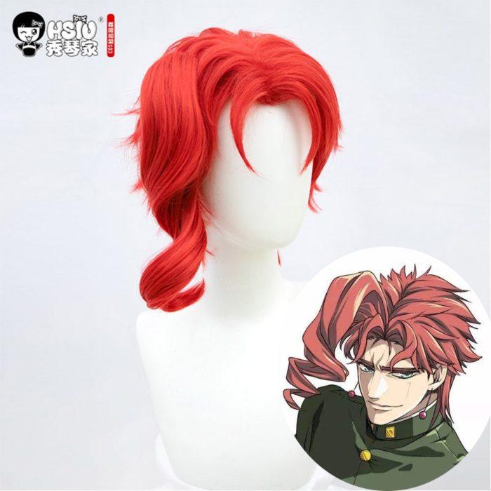 HSIU Anime jojos Bizarre Abenteuer Rolle perücke Kakyoin Noriaki cosplay Perücke Rot locken hoch temperatur faser perücke Kappe 4