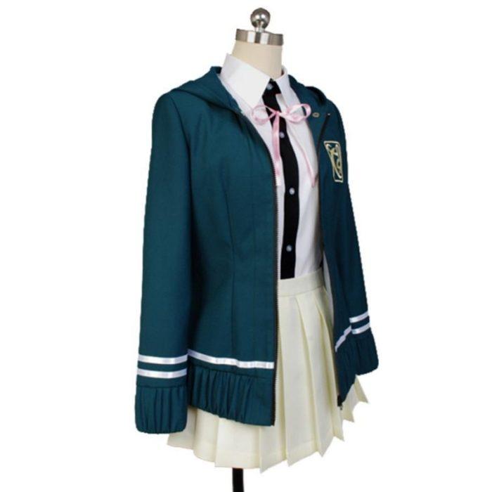 6PCS Sets Danganronpa Chiaki Nanami Cosplay Kostüm Dangan Ronpa Uniform Jacke Bluse/Hemd Rock Cosplay Perücke Krawatte Katze rucksack 2