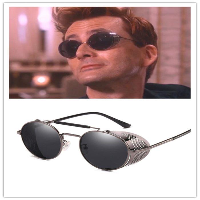 Gute Omens Dämon Crowley Cosplay Brillen Gläser Steampunk Brille Sonnenbrille Retro Farbe film Reflektierende Hohe Qualität Spiegel 1