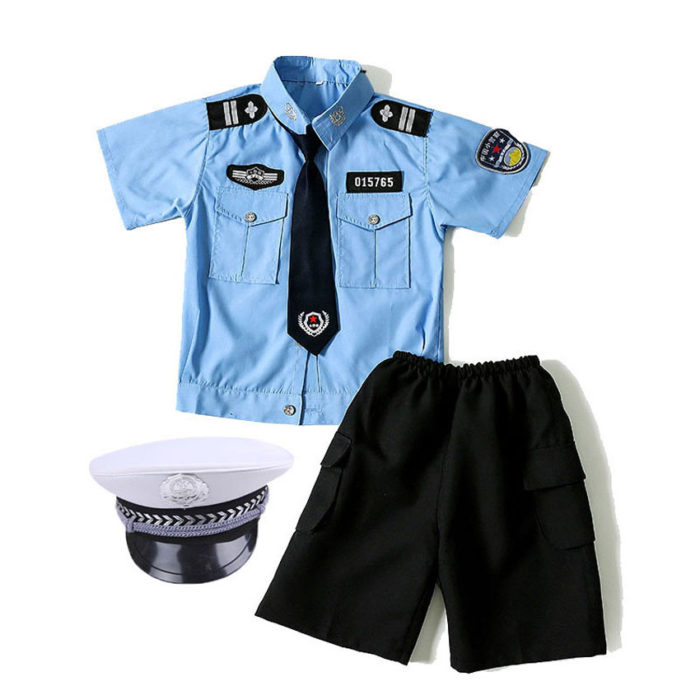 110-160cm Kinder Polizei Offizier Cosplay Kostüm Karneval Party Fancy Kleidung Set kinder Tag Tragen Mädchen Polizistin uniform 1
