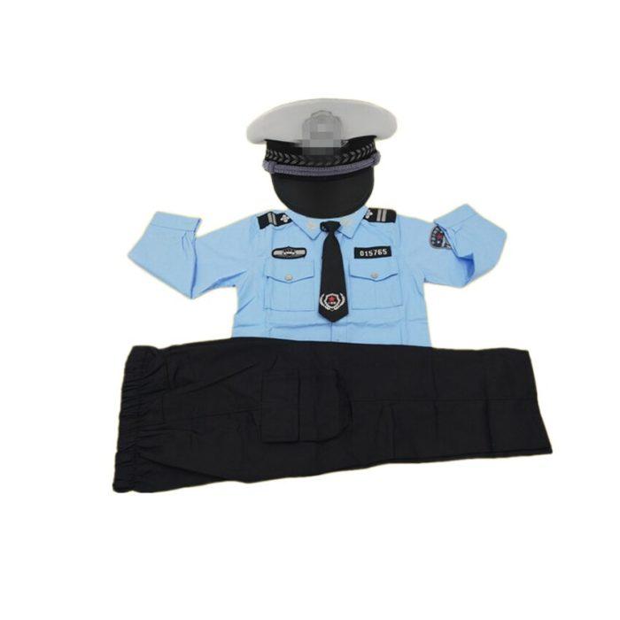 110-160cm Kinder Polizei Offizier Cosplay Kostüm Karneval Party Fancy Kleidung Set kinder Tag Tragen Mädchen Polizistin uniform 3
