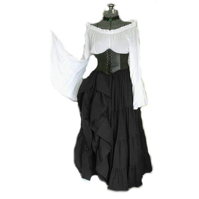 2020 neue Halloween Frauen Medieval Cosplay Kostüme Gothic Retro Victoria Mittelalter Karneval Langarm Plissee Korsett Kleid 5
