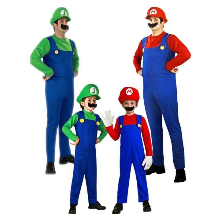 Super Mario Kleidung Erwachsene und Kinder Mario Familie Bros Cosplay Kostüm Set Kinder Geschenk Halloween Party MARIO & LUIGI Kleidung 3