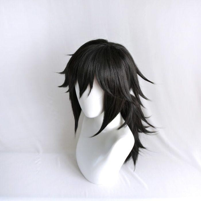 Dämon Slayer Kimetsu keine Yaiba Tomioka Giyuu Schwarz Pferdeschwanz Perücke Cosplay Kostüm Männer Frauen Hitze Beständig Synthetische Haar Perücken 4