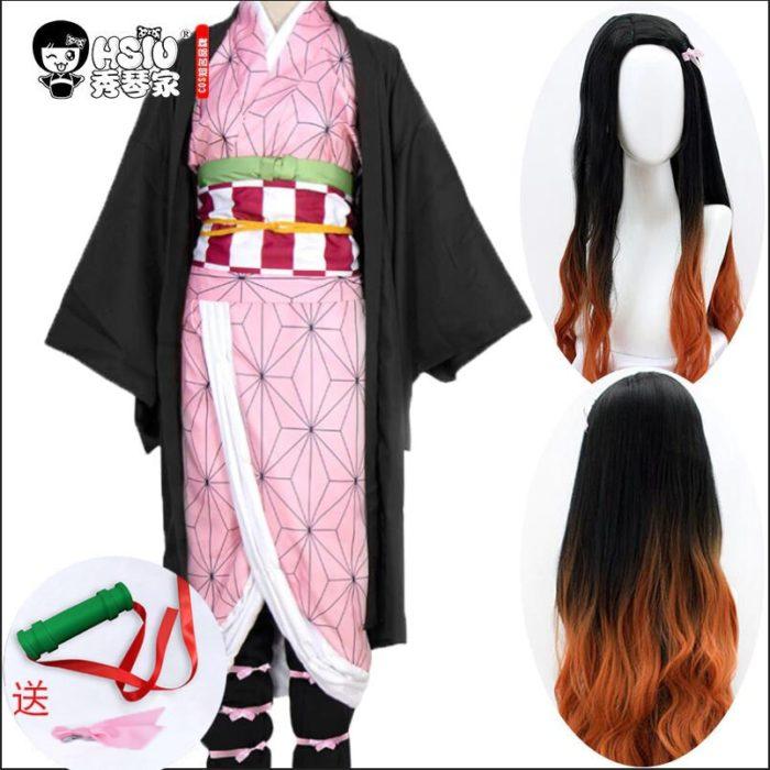 HSIU Kamado Nezuko Anime Cosplay Kostüm Perücke Dämon Slayer Kimetsu keine Yaiba Kimono Uniform Umhang Volles Set Halloween Gradienten haar 1