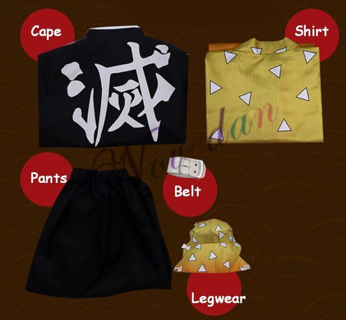 Anime Kimetsu keine Yaiba Cosplay Kostüm Dämon Slayer Agatsuma Zenitsu Cosplay Kleidung Kimono Halloween Kostüm Für Erwachsene Männer 4