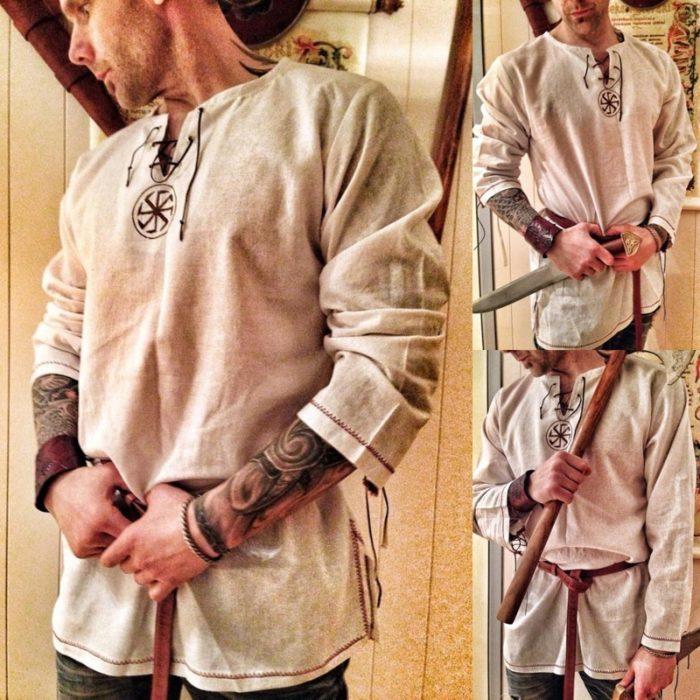 Halloween Medieval Renaissance Cosplay Kostüm Männer Vikings Piraten Tops Retro T-Shirts Tunika Alte Slawischen Ritter Krieger Outfit 1