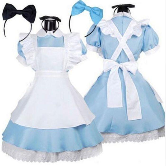 Halloween Frauen Erwachsene Anime Alice Abenteuer Blau Party Kleid Alice Traum Frauen Sissy Maid Lolita Cosplay Kostüm 1