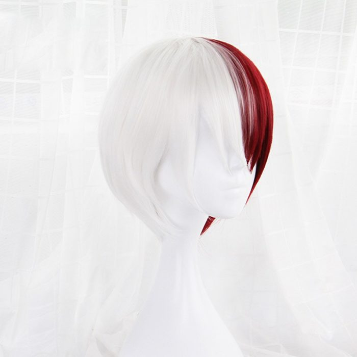 Mein Hero Wissenschaft Boku keine Hiro Akademia Shoto Todoroki Shouto Weiß Und Rot Cosplay Perücke + Perücke Kappe 3