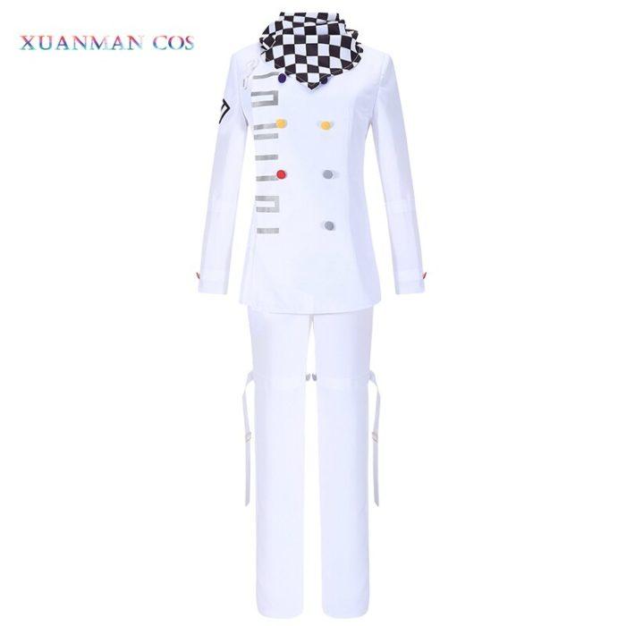 Danganronpa V3 Kokichi Ouma Cosplay Weiße Uniform Halloween Fancy Outfit Hosen Vollen Satz Cosplay Kostüm Mit Scraf Mantel 2
