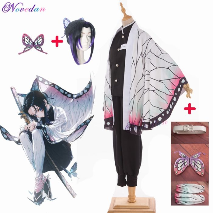 Anime Dämon Slayer Kimetsu keine Yaiba Kochou Shinobu Cosplay Kostüm Frauen Kimono Uniform Halloween Weihnachten Party Kostüm Perücke 1