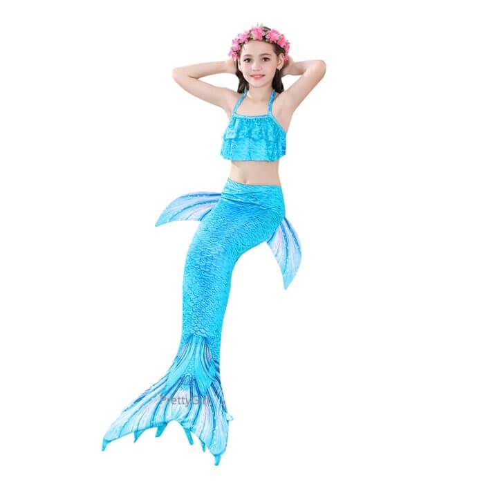Pretty Kinder Mädchen Schwimmen Meerjungfrau schwanz Meerjungfrau Kostüm Cosplay Kinder Badeanzug Fantasie Strand Bikini können hinzufügen Monofin Fin 6