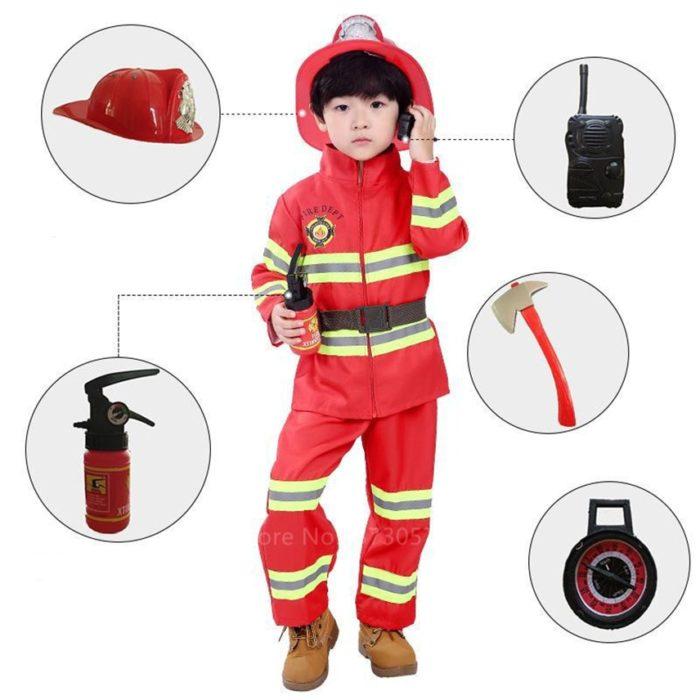 Halloween Cosplay Kinder Feuerwehr Uniform Kinder Sam Feuerwehrmann Rolle Spielen Arbeit Kleidung Anzug Junge Mädchen Leistung Party Kostüme 1