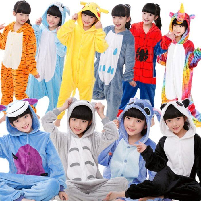 Kinder Kigurumi Kinder pyjamas Winter Flanell Tier pyjamas einem stück Kaninchen Totoro Stich Panda Cosplay baby Junge mädchen pyjamas 1