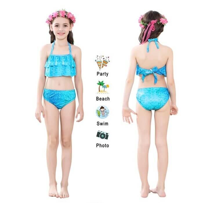 Pretty Kinder Mädchen Schwimmen Meerjungfrau schwanz Meerjungfrau Kostüm Cosplay Kinder Badeanzug Fantasie Strand Bikini können hinzufügen Monofin Fin 4