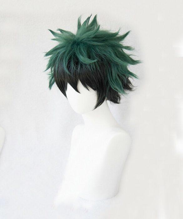 Mein Hero Wissenschaft Boku keine Hiro Akademia Izuku Midoriya Kurze Grün Schwarz Ombre Hitze Beständig Cosplay Kostüm Perücke + Track + kappe 3