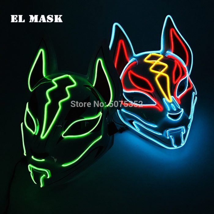 Anime Expro Decor Japanischen Fuchs Maske Neon Led Licht Cosplay Maske Halloween Party Rave Led Maske Dance DJ Payday Kostüm requisiten 1