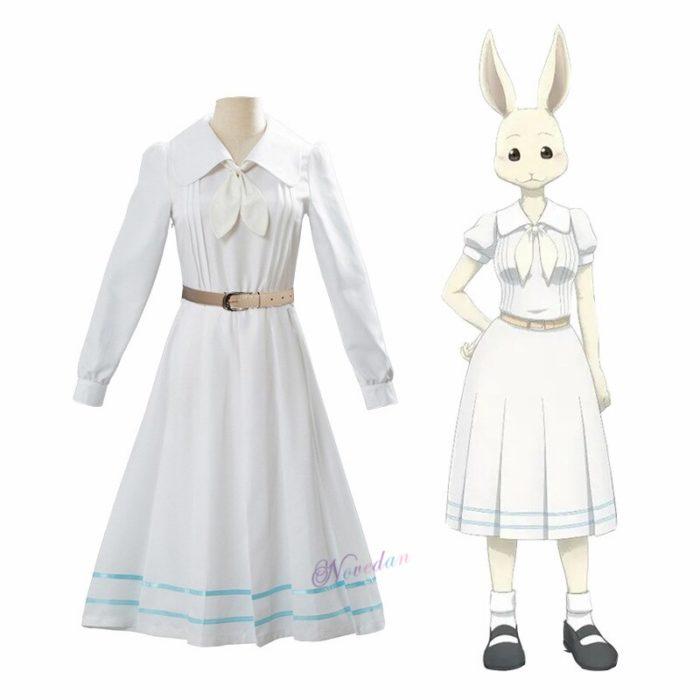 Anime Beastars Haru Cosplay Kostüm Uniform Weiß Kaninchen Tier Nette Kawaii Kleid Und Perücke Für Frauen Mädchen 3