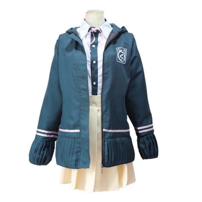Super DanganRonpa 2 Dangan Ronpa Cosplay Chiaki Nanami Uniformen Jacke Hemd Krawatte Rock Für Frauen Cosplay Kostüm Perücken 1