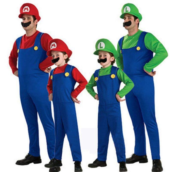 Super Mario Kleidung Erwachsene und Kinder Mario Familie Bros Cosplay Kostüm Set Kinder Geschenk Halloween Party MARIO & LUIGI Kleidung 6
