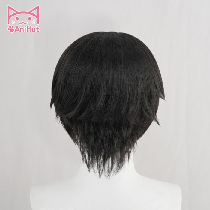 【AniHut】Yugi Amane Perücke Wc-gebunden Hanako-kun Cosplay Hitze Beständig Synthetische Schwarz Yugi Amane Haar 4
