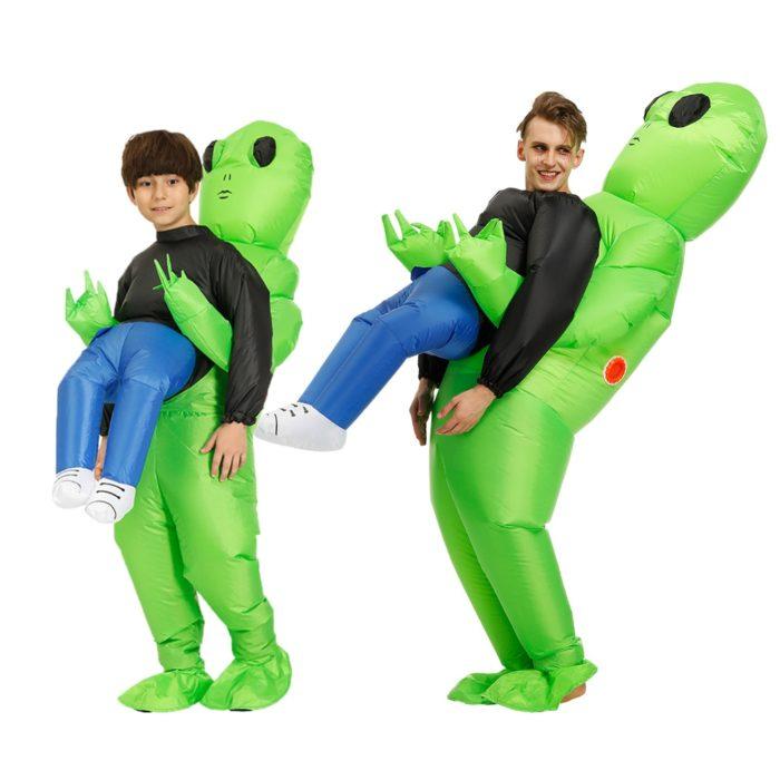 Heißer Grün Alien Aufblasbare kostüm Cosplay kostüm Lustige Blow Up Anzug Party kostüm Fancy Kleid Halloween Kostüm für erwachsene kinder 1